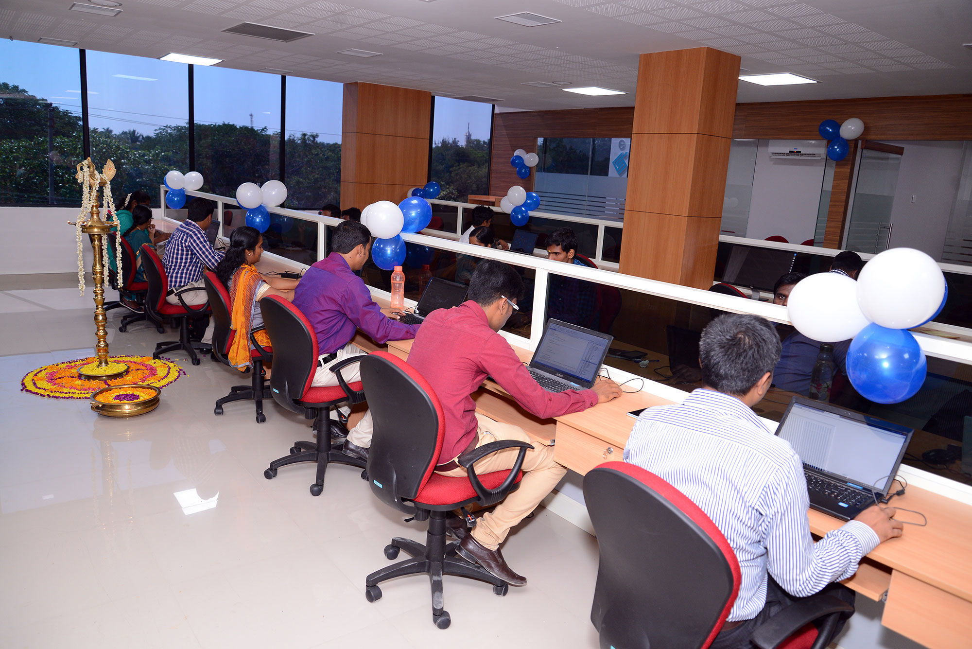 working at new office